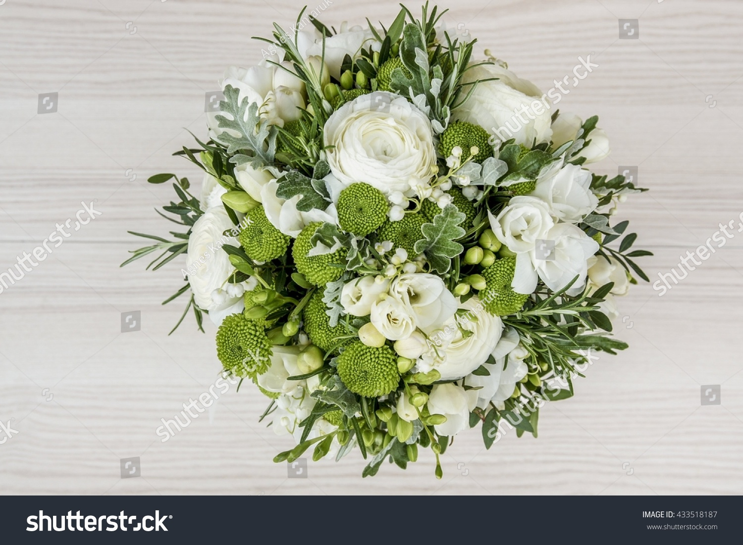 Wedding Bouquet White Flowers Green Leaves Stock Photo Royalty Free