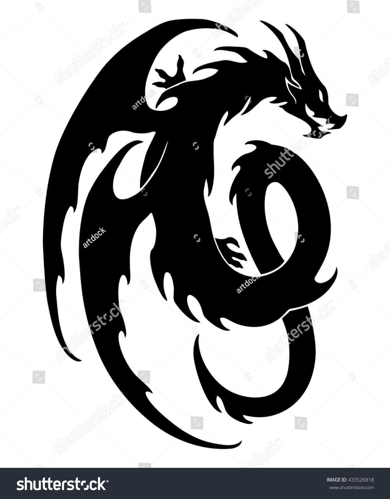 Vector illustration dragon design black and white graphics