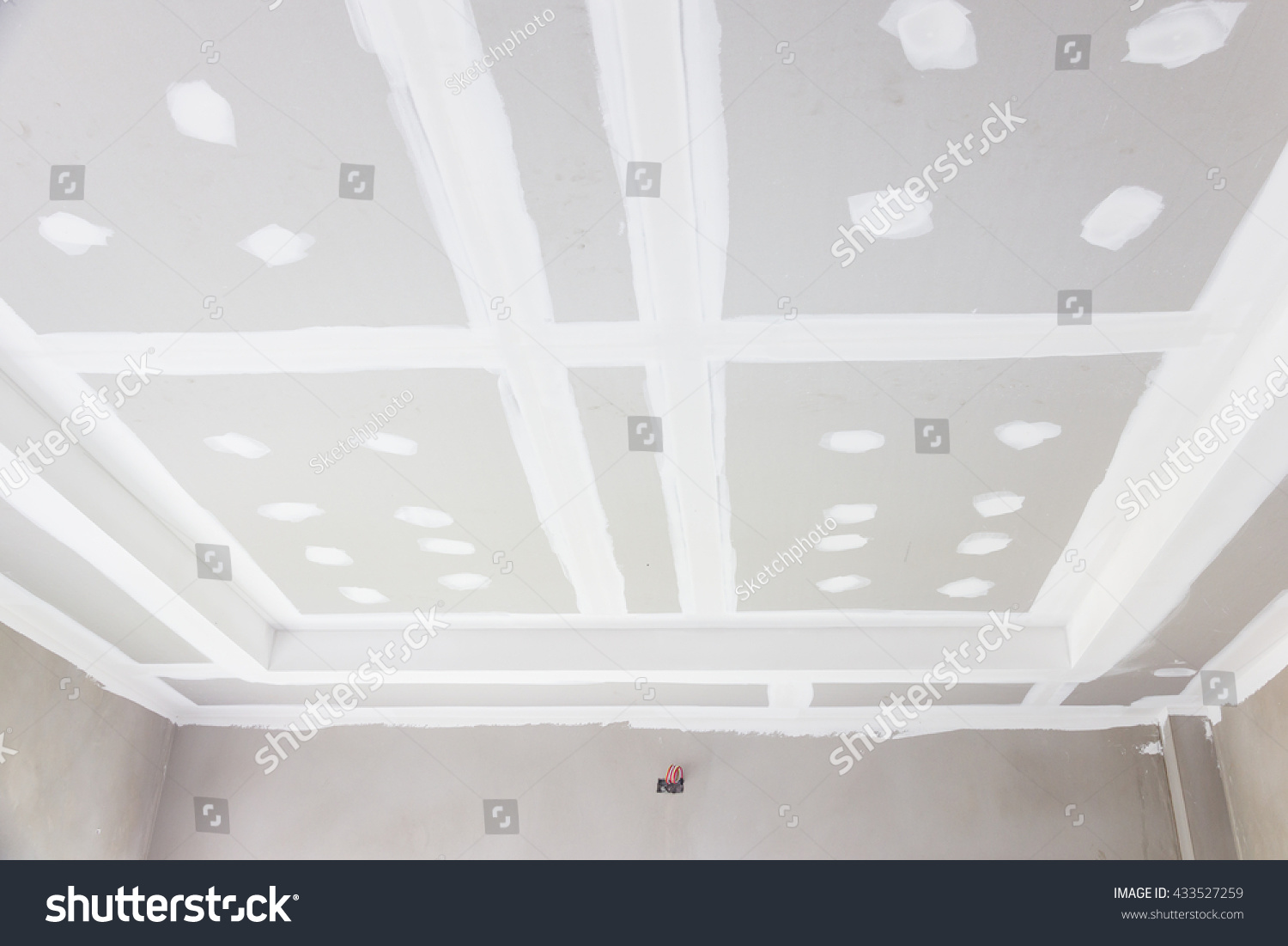build gypsum board ceiling construction site stock photo 433527259