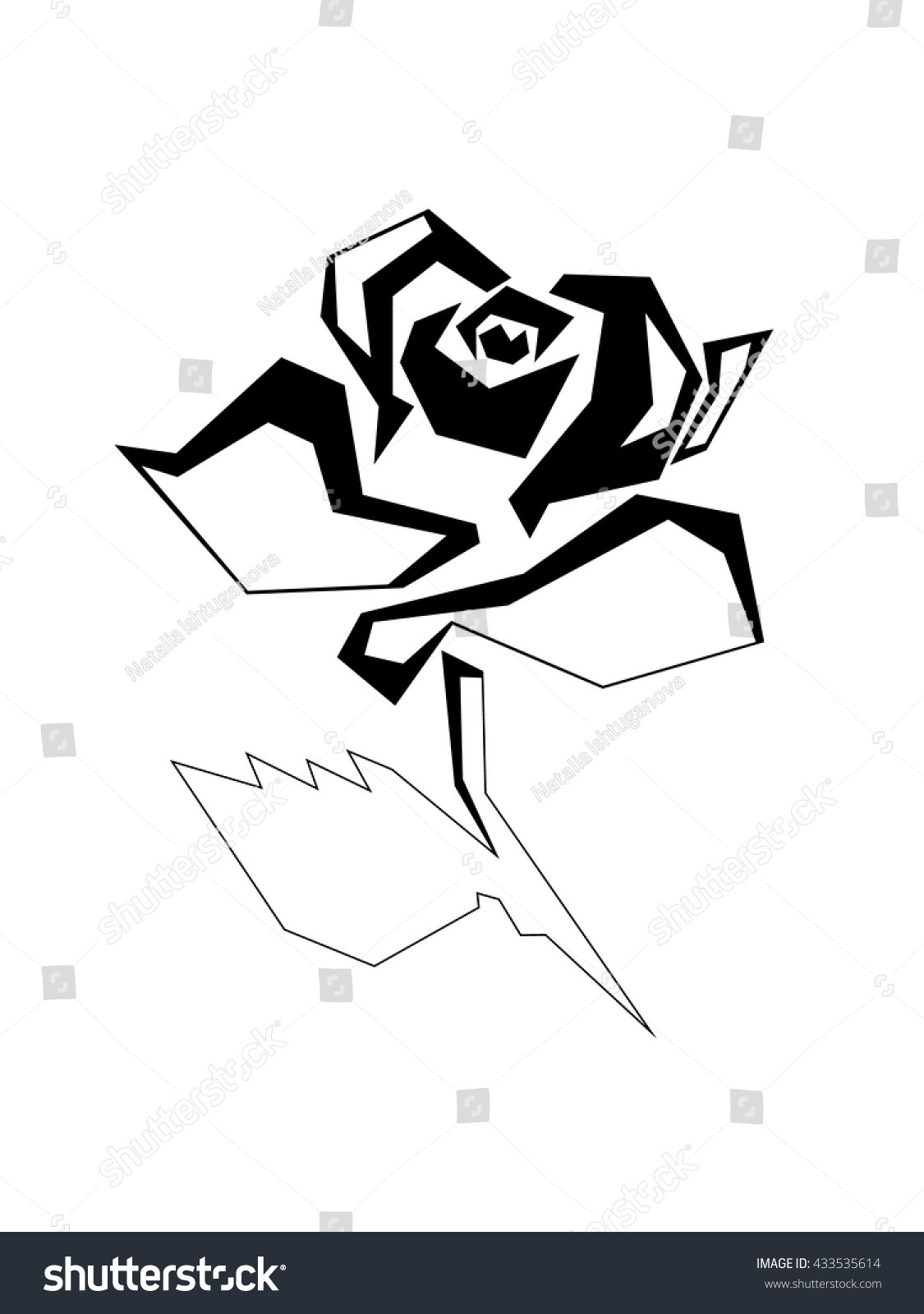 stylized image rose thin straight lines stock vector 433535614