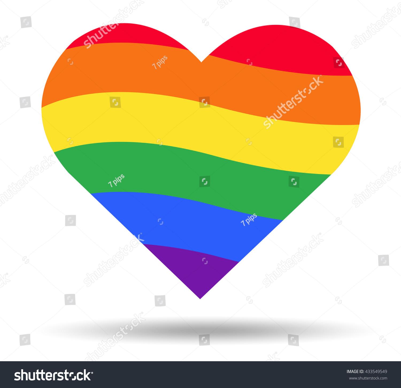 Rainbow Flag Lgbt Symbol On Heart Vector Eps10 Ez Canvas