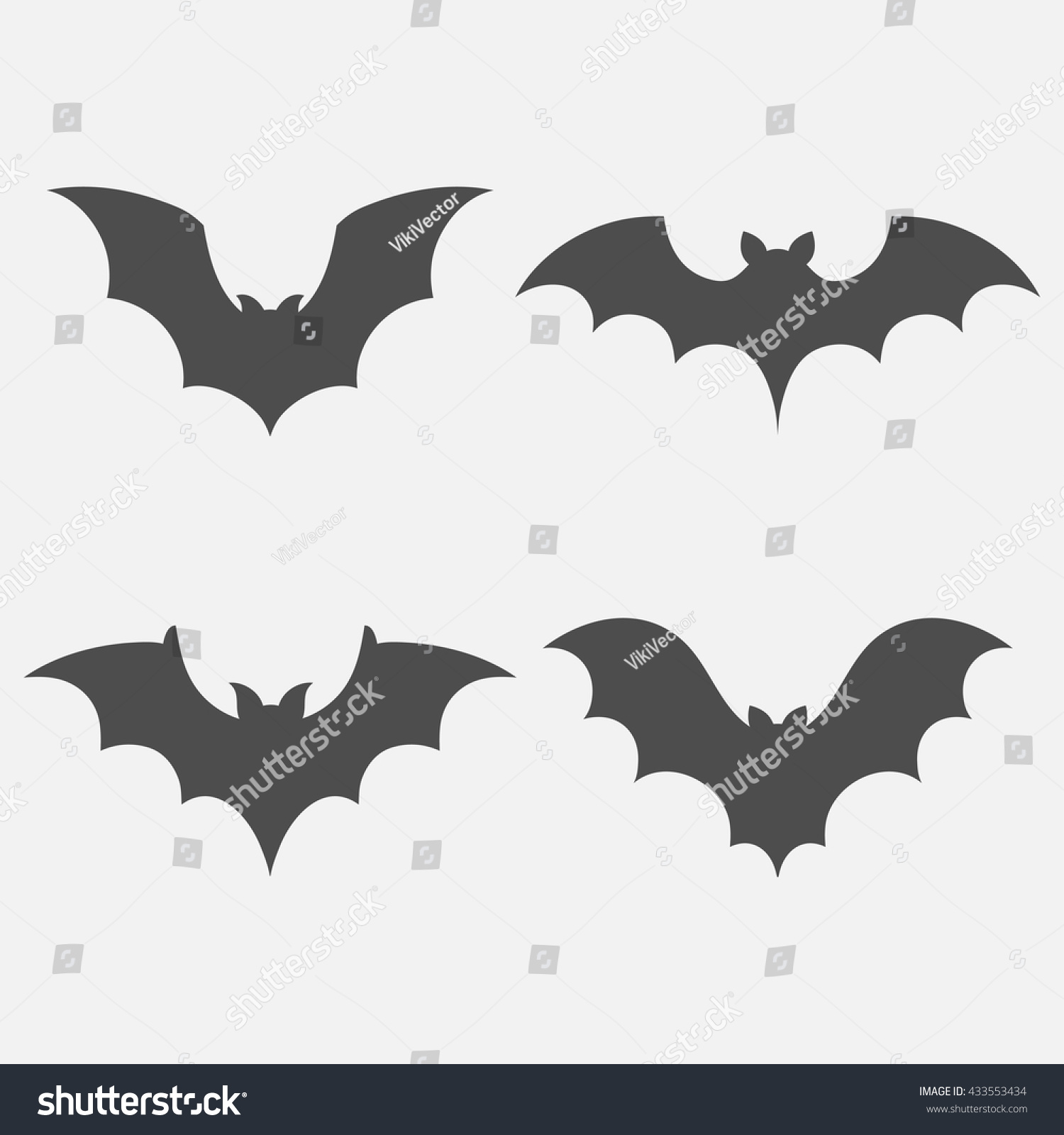 bats vector set isolated on white stock vector 433553434
