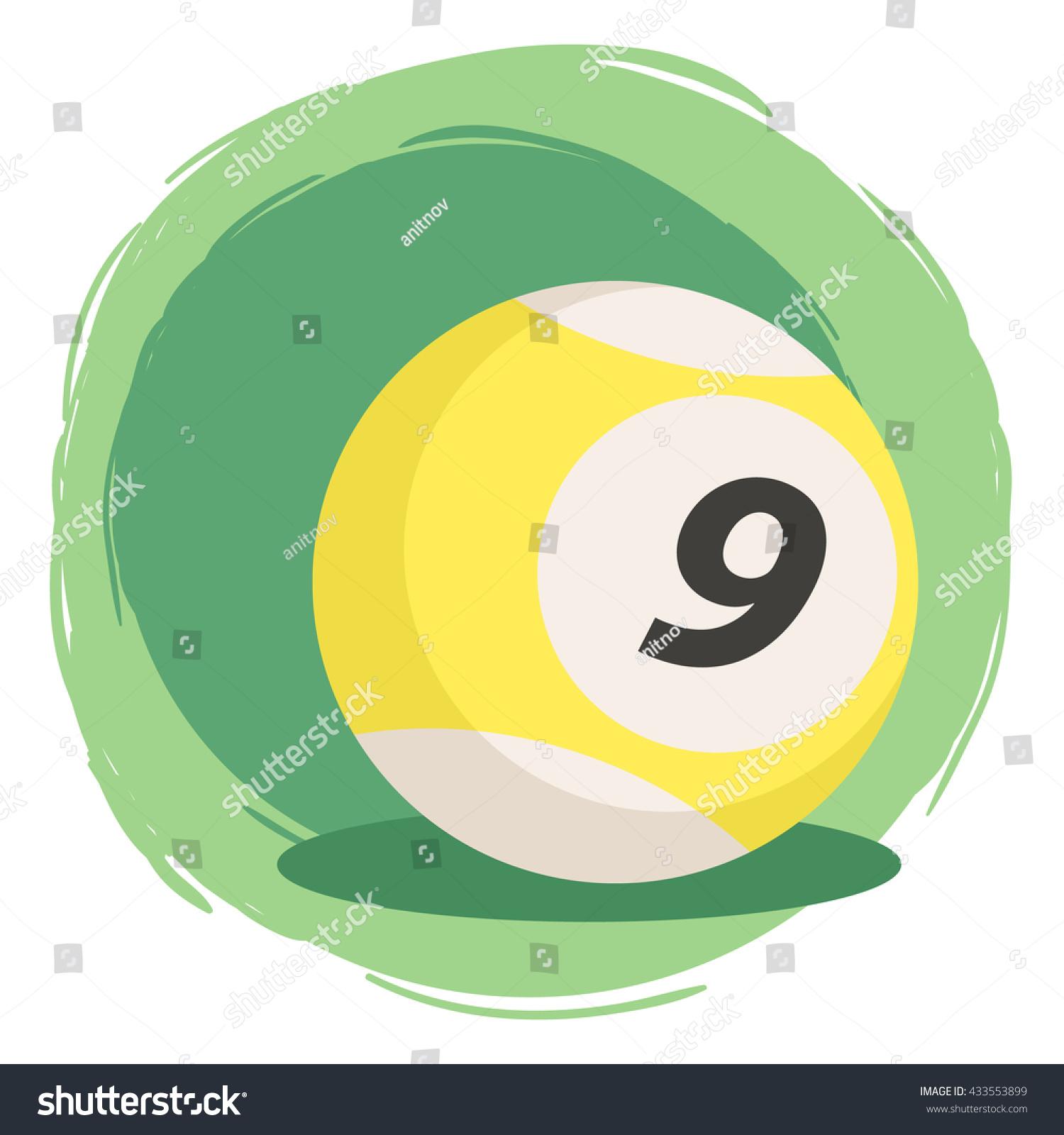 Billiard Ball Number 9 Yellow Vector Stock Vector 433553899 ...
