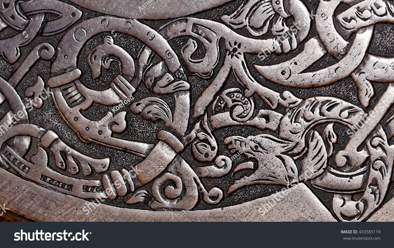 Viking wood carving wolf stock photo shutterstock