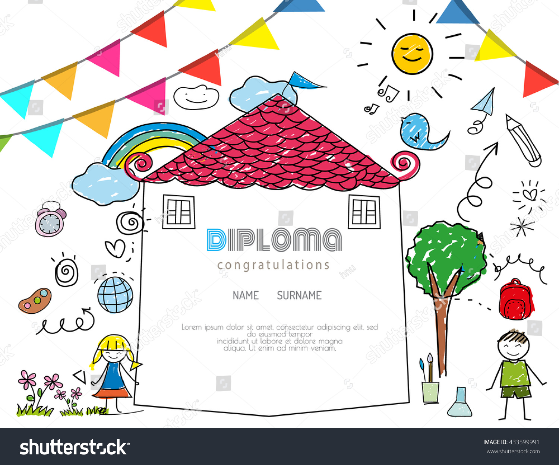 Kids Diploma Preschool Certificate Elementary School Stock Vector Hd