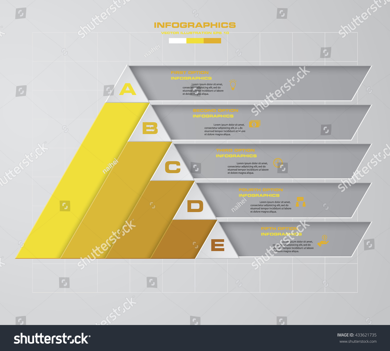 Abstract 5 Steps Pyramid Shape Layout Stock Vector (2018) 433621735 ...