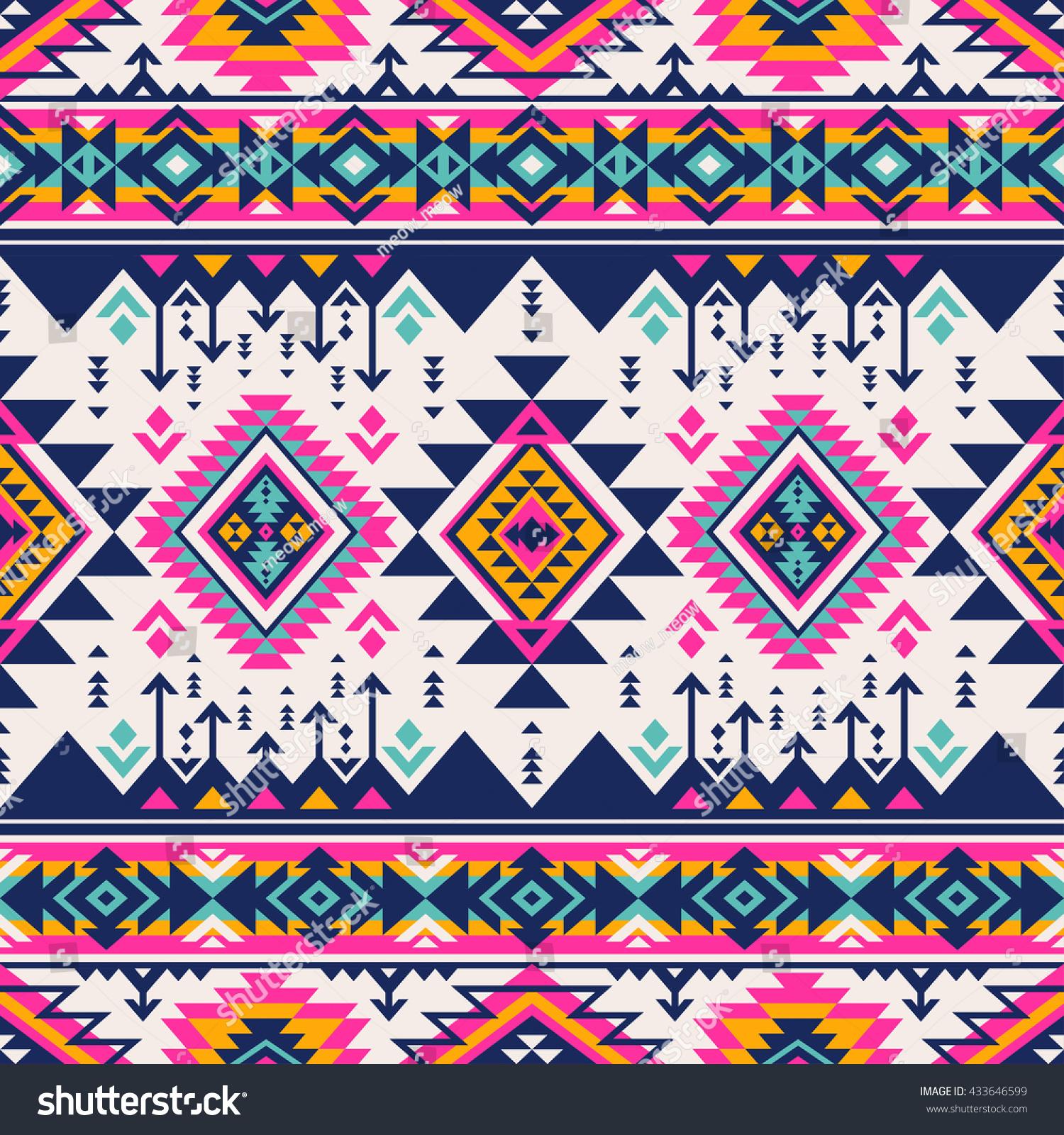 100 Multicolor Tribal Vector Seamless Navajo