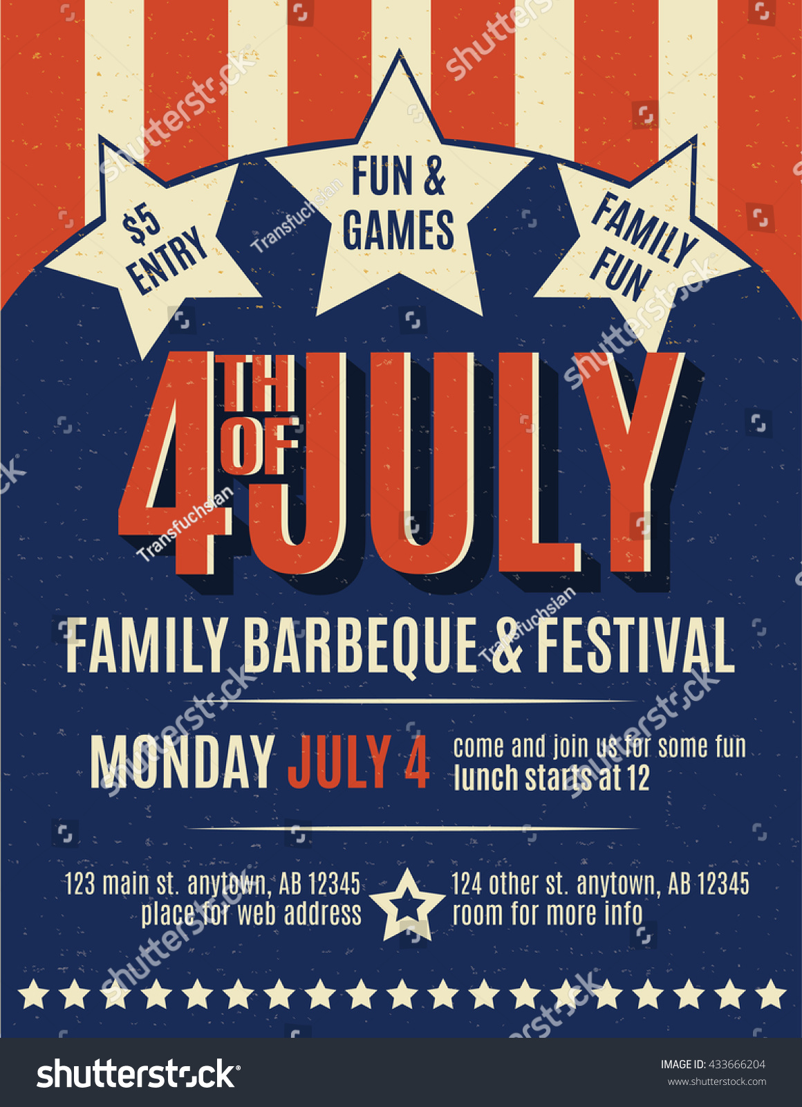 Retro 4th July Grunge Flyer Template Vector 433666204 – Lunch Flyer Template