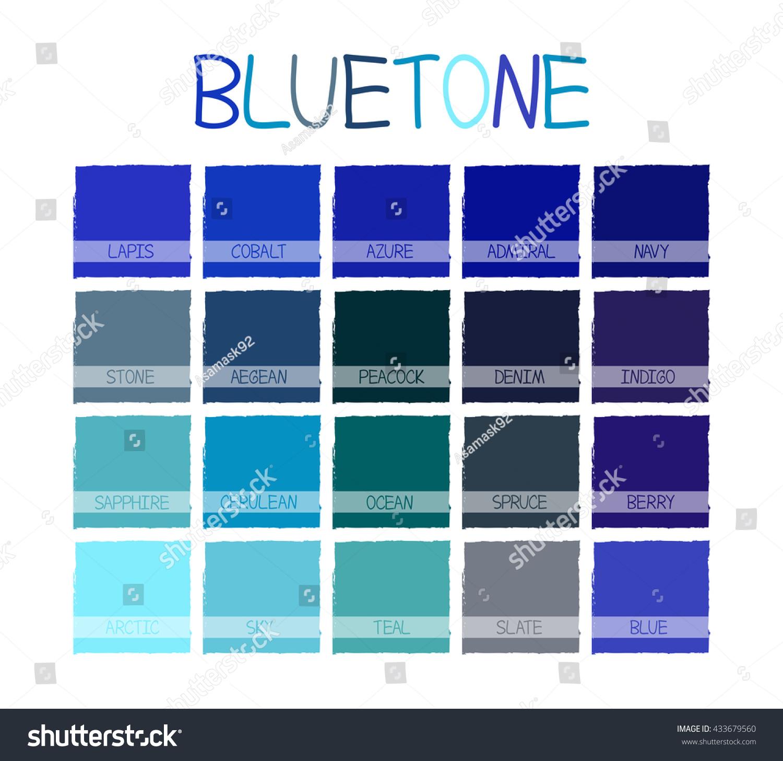 bluetone color tone name vector illustration stock vector royalty