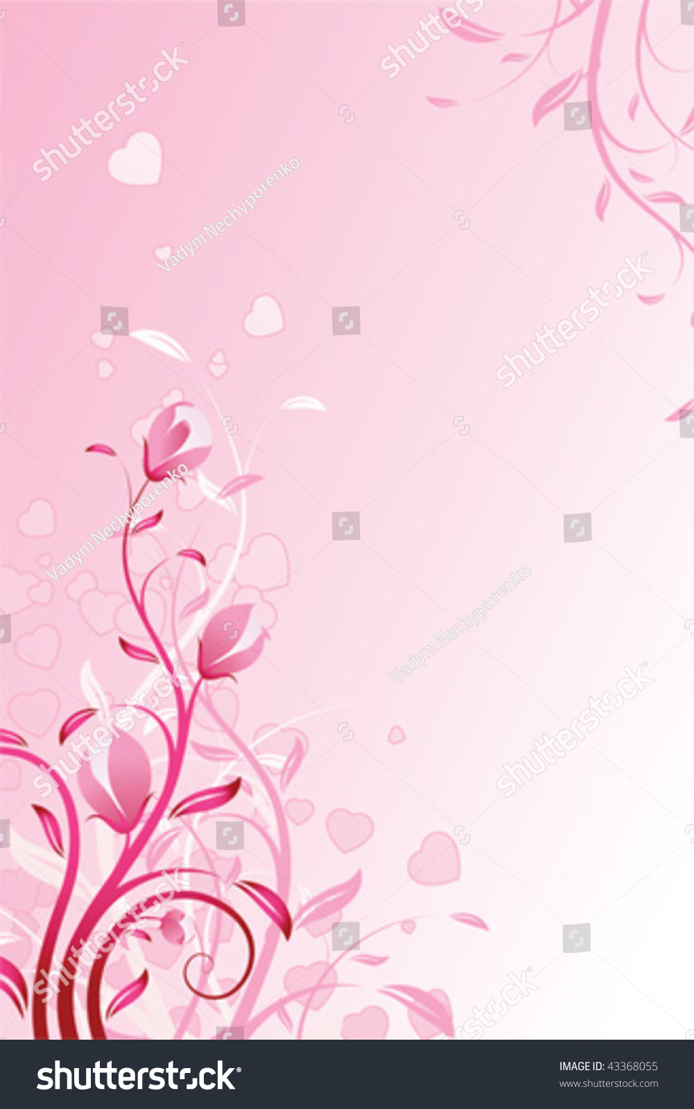 Valentines Day Background Flowers Pink Color Stock Vector Royalty