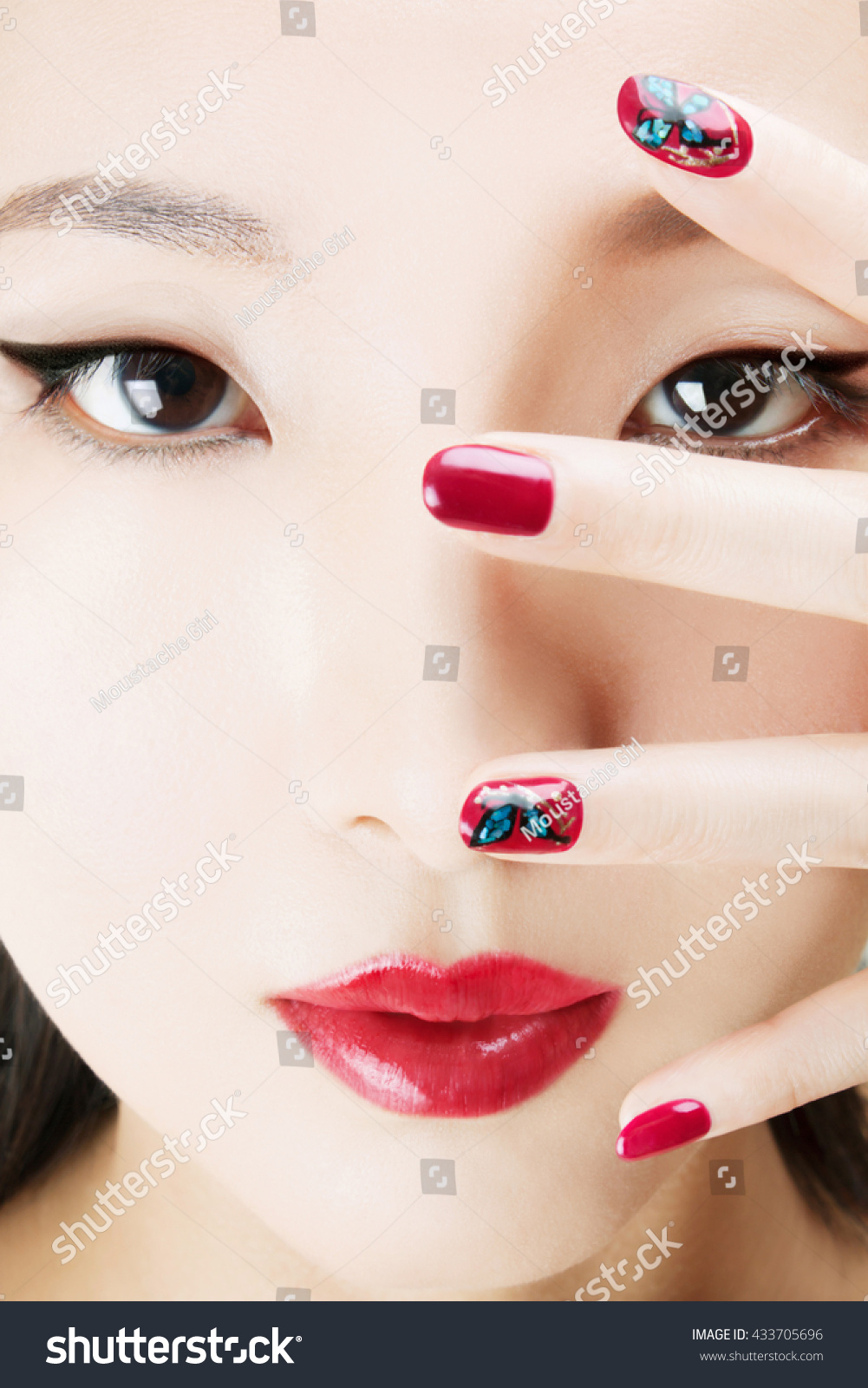 Asian Model Red Manicure Nail Art Stock Photo (Edit Now) 433705696 ...