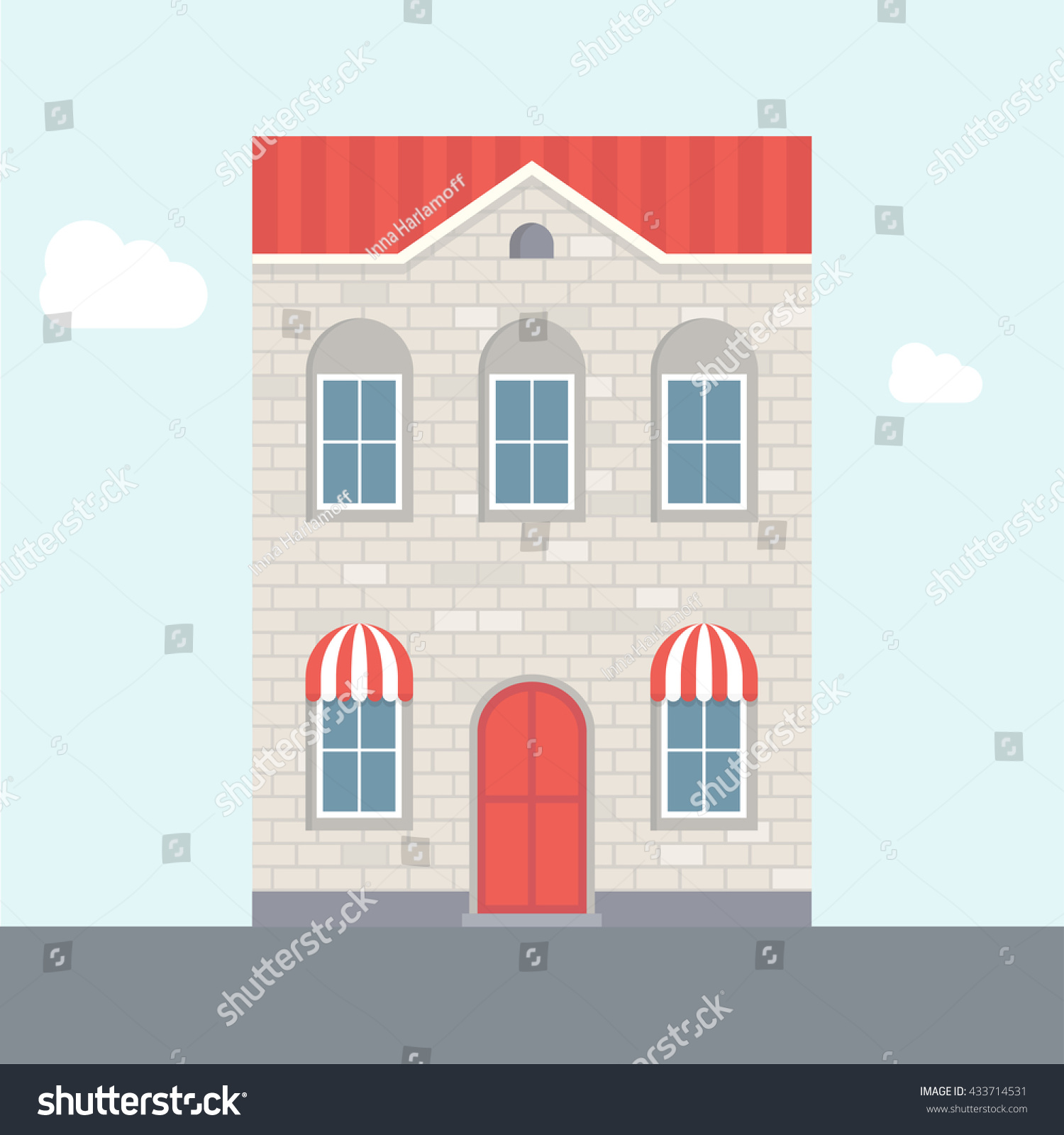 Vector Illustration Of House. Two Storey House. Brick House With Red Roof.