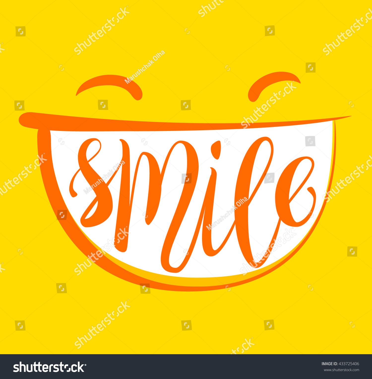 Yellow Positive Thinking Smile Poster Smile Stock Vector 433725406 ...