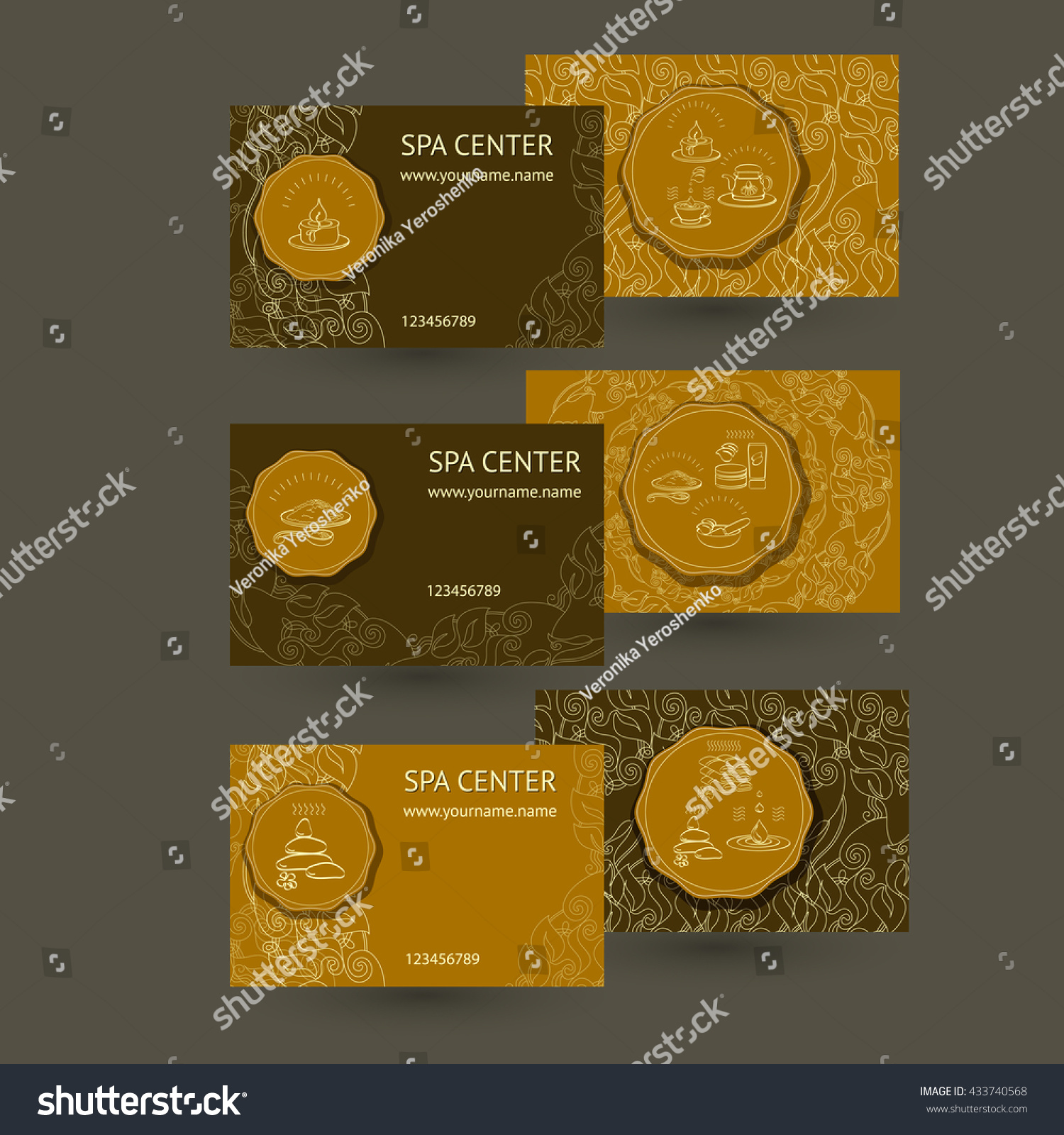 Vector Template Spa Business Cards Icons Stock Vector 433740568 ...