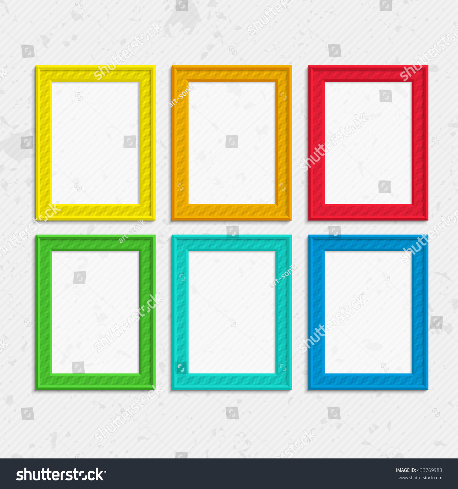 Set Colorful Wooden Frames Wooden Square Stock Photo (Photo, Vector ...