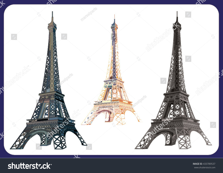 Three Variants Eiffel Tower Stock Vector 433789537 - Shutterstock