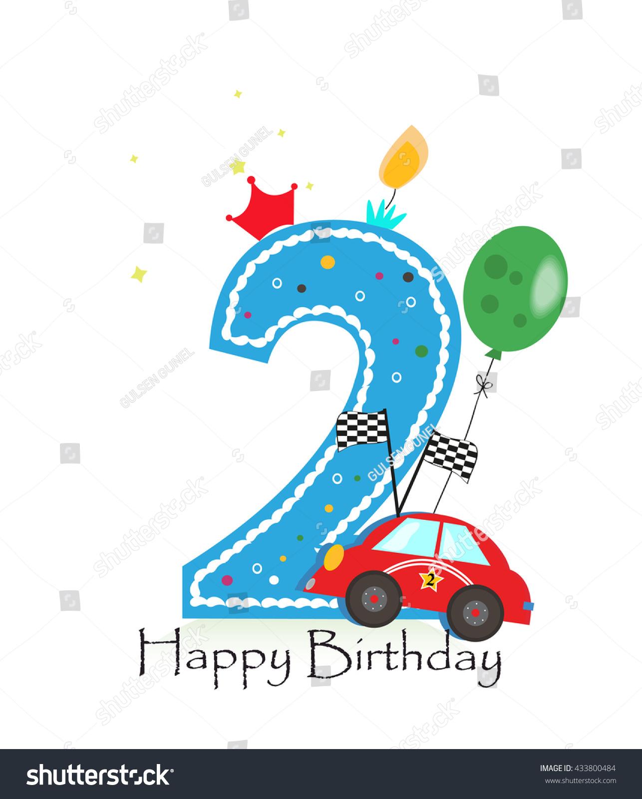 Happy Second Birthday Candle Baby Boy Stock Vector