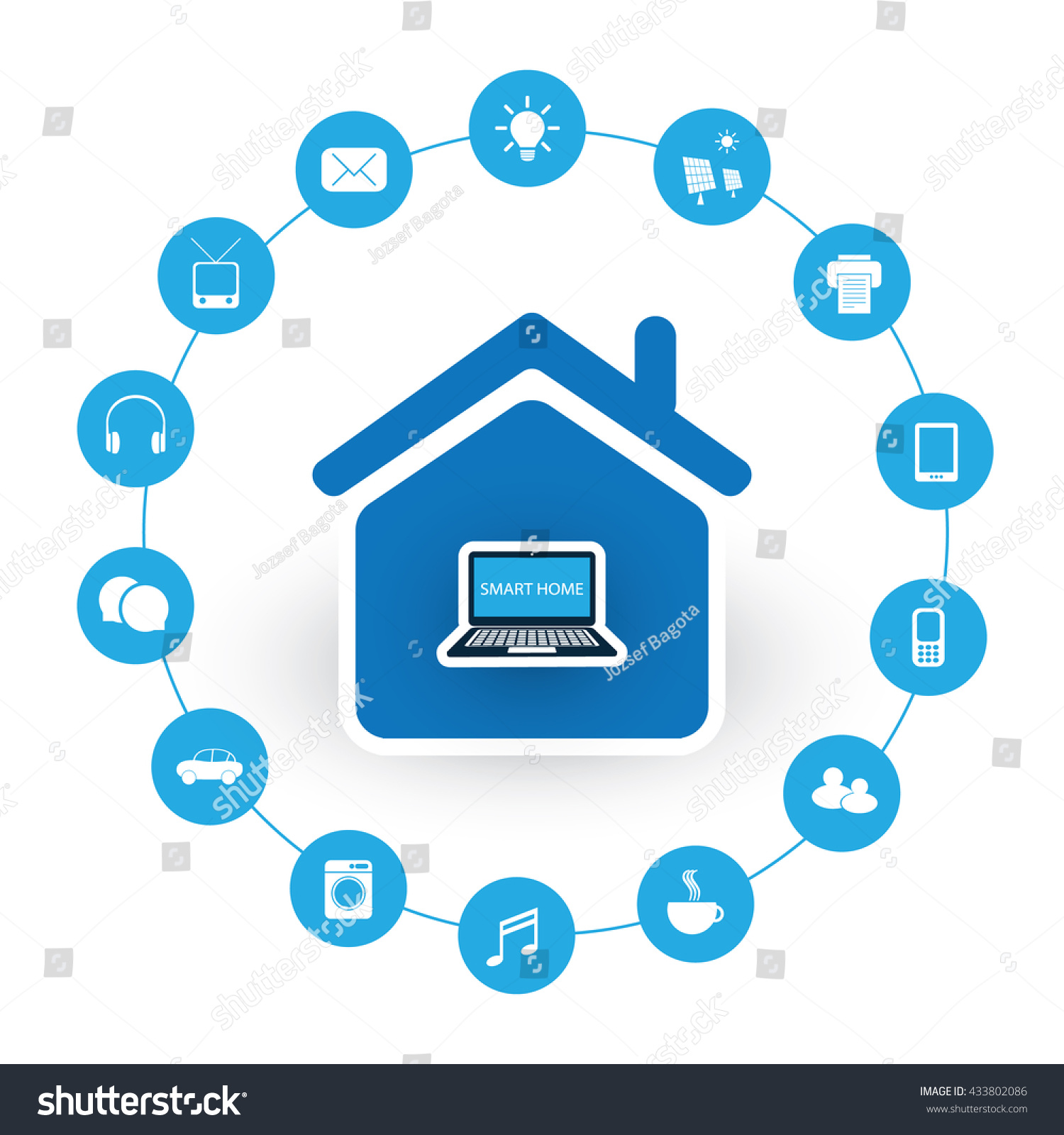 internet of things digital home and networks design concept with icons - Digital Home Designs