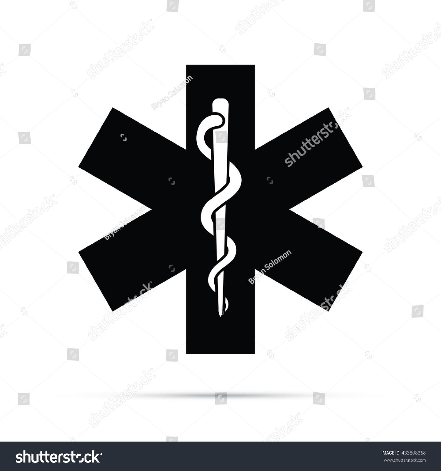 Rod Asclepius Medical Symbol Icon Raster Stock Illustration