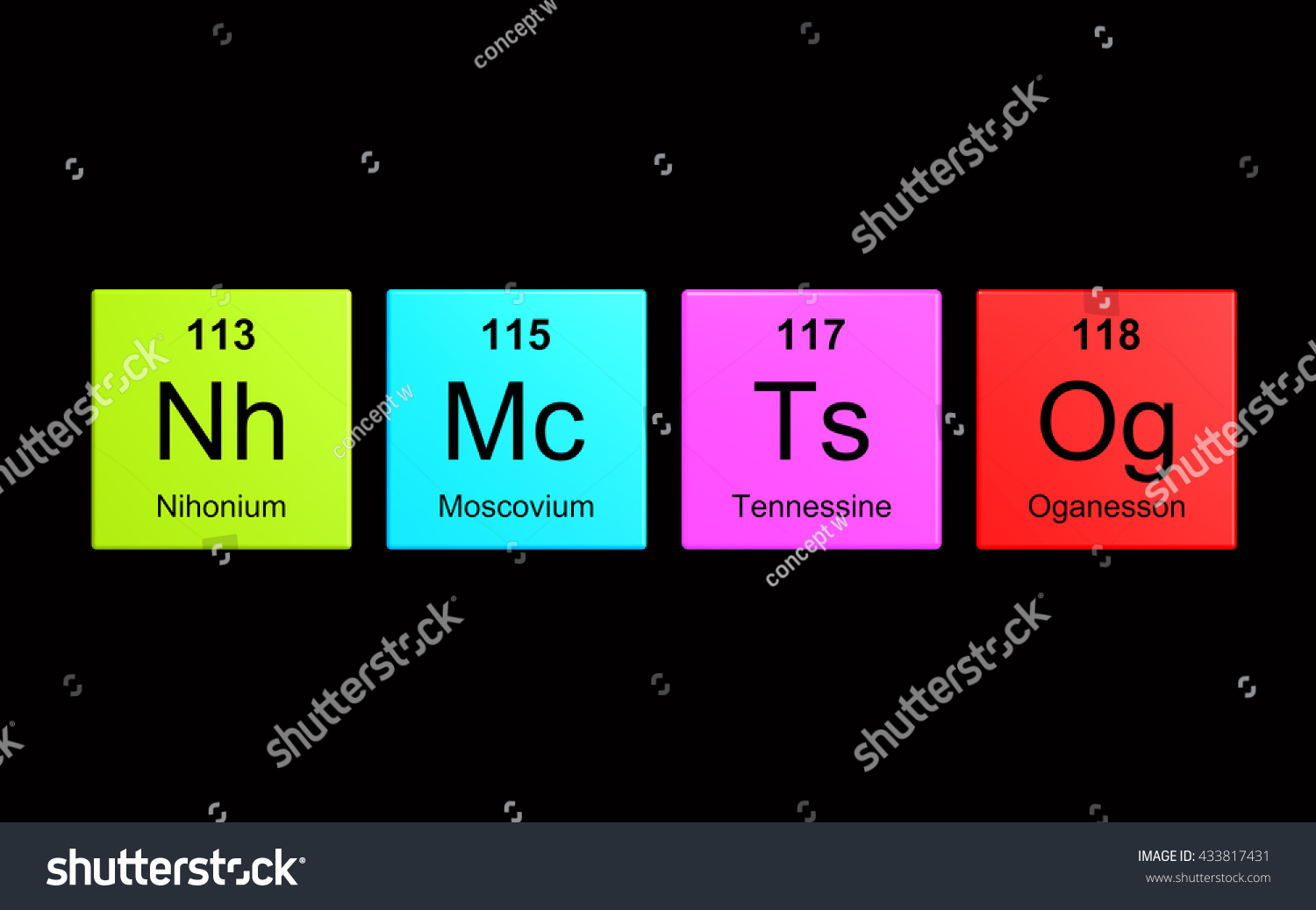 Nihonium 113 moscovium 115 tennessine 115 and oganesso for 118 elements of the periodic table
