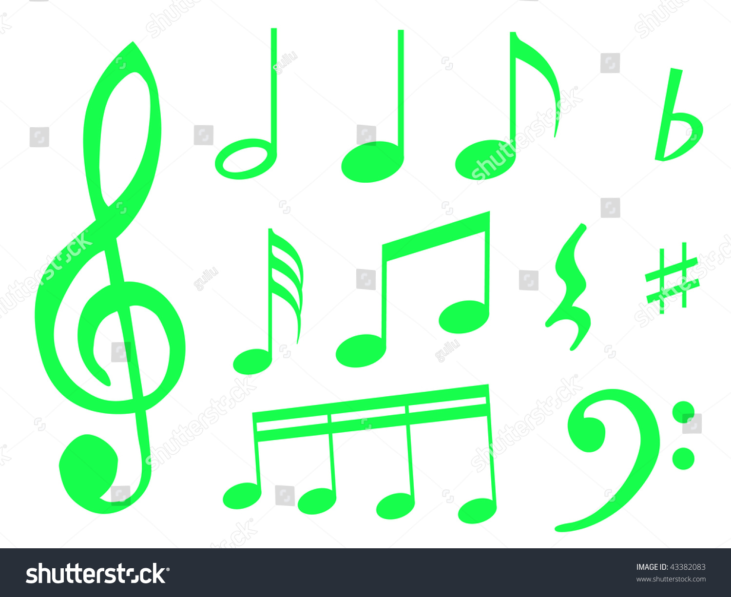 Different Kind Music Notes Symbol Sheet Stock Illustration 43382083