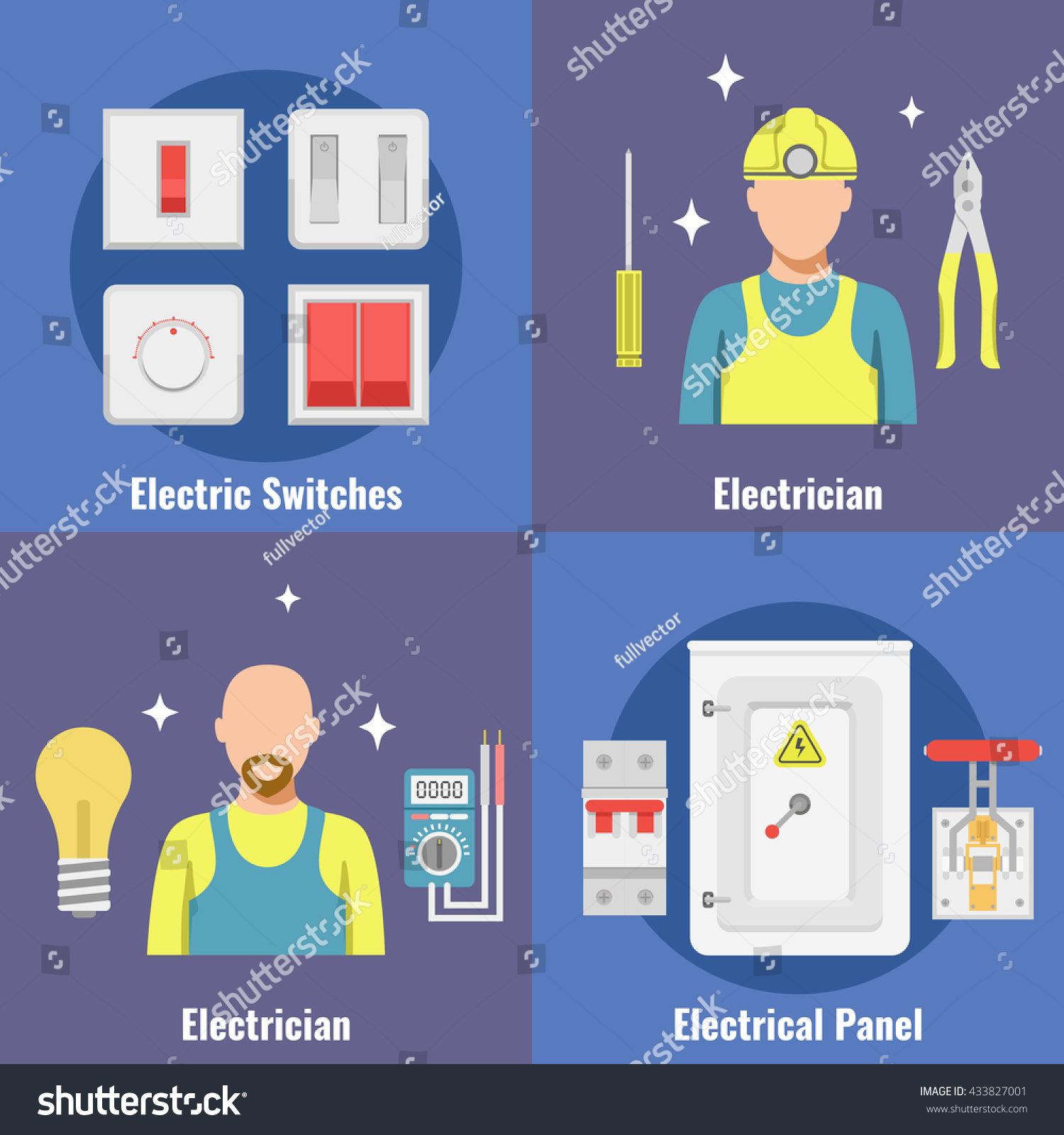 Breakers Set Switch Vector Flat Fuse Stock Royalty Free Electric Panel Boxes Box Circuit Electrical
