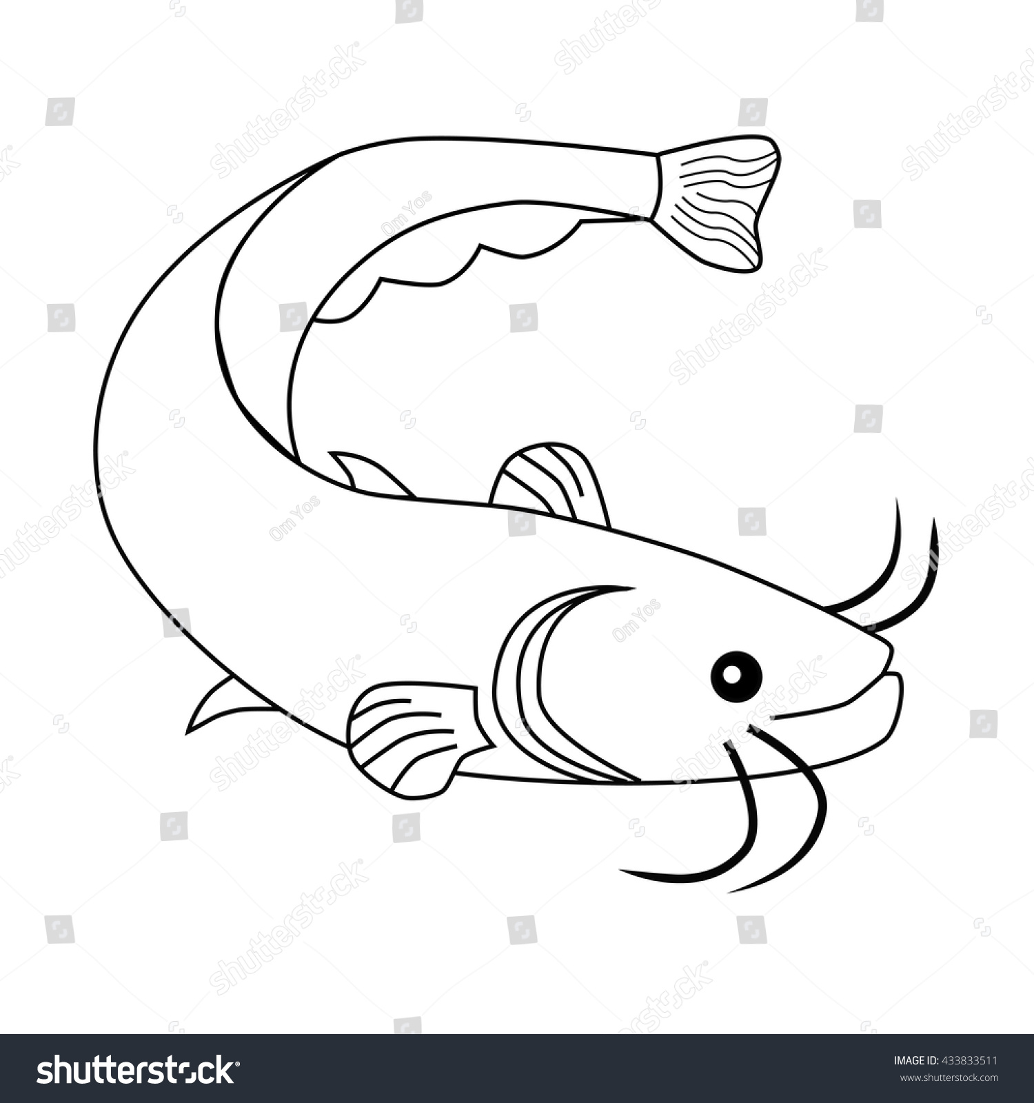 outline cat fish stock vector 433833511 shutterstock
