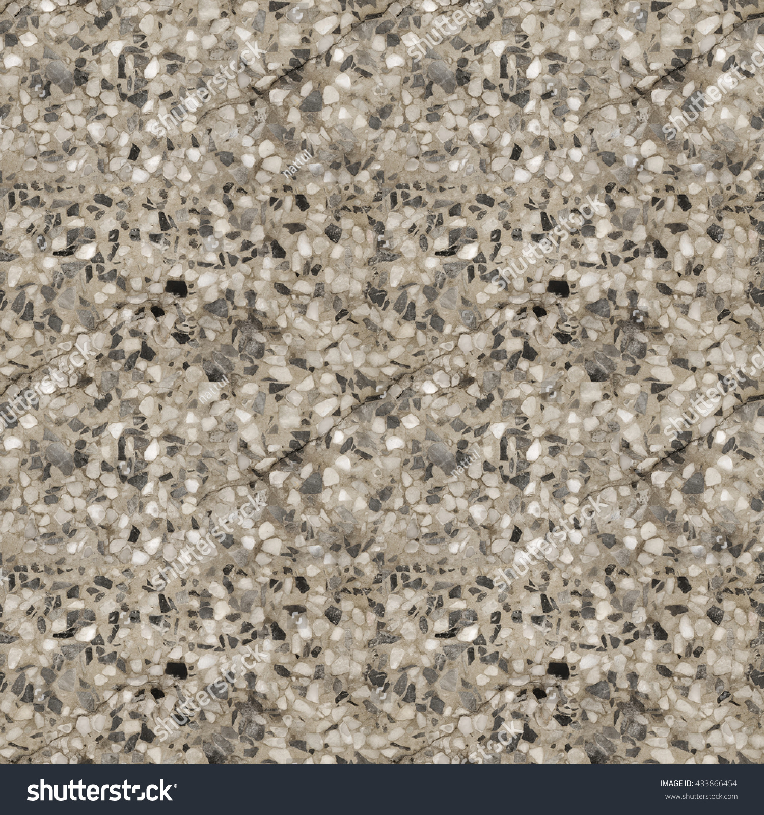 Abstract Seamless Texture Of Black And White Terrazzo Concrete