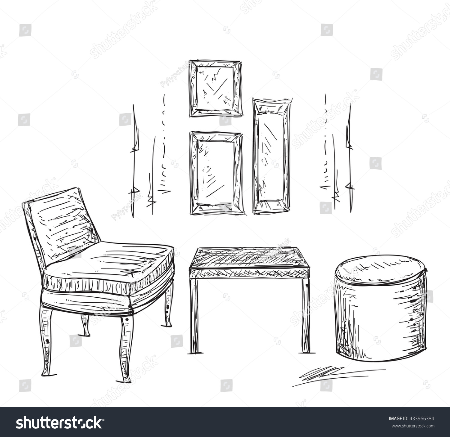 Hand Drawn Furniture Chairs Tables Sketch Stock Vector