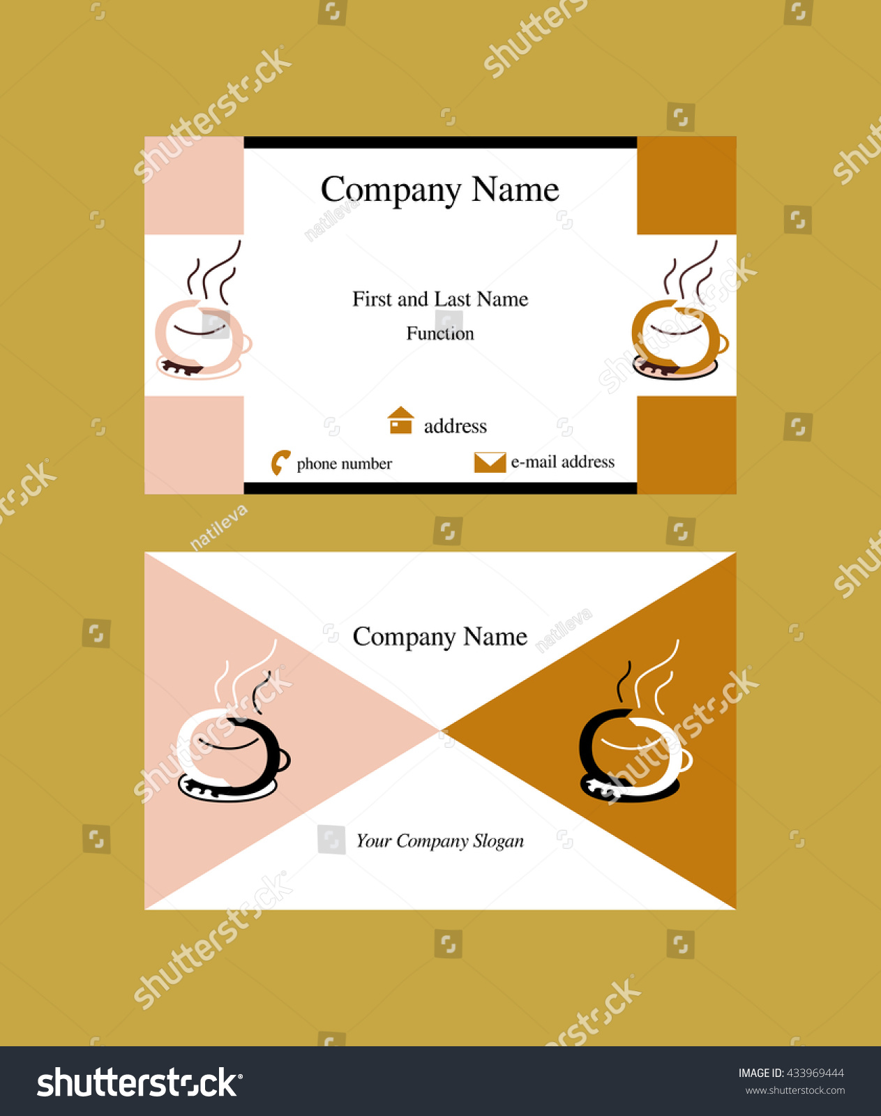 Colorful business card coffee cup logo stock vector 433969444 colorful business card with coffee cup logo symbol made of two c letters facing each other biocorpaavc