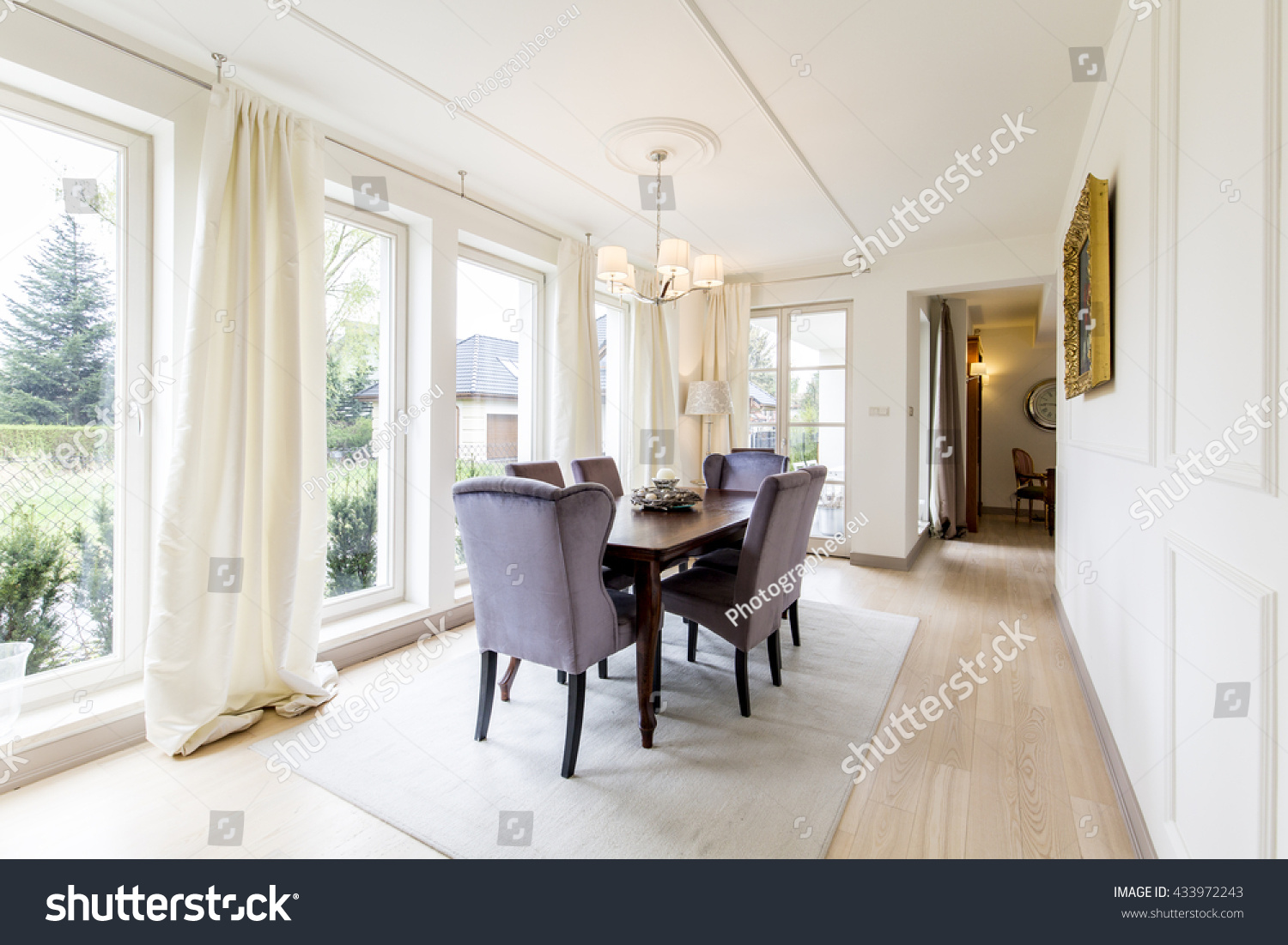 Spacious Dining Room Table Chairs Big Stock Photo (Download Now ...