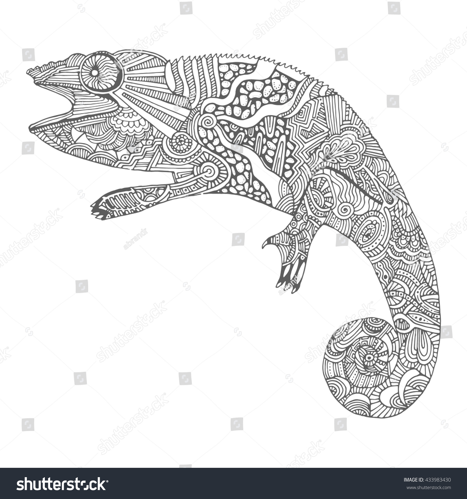 Hand Drawn Chameleon With Doodle Pattern Coloring Page Zentangle For Relaxation
