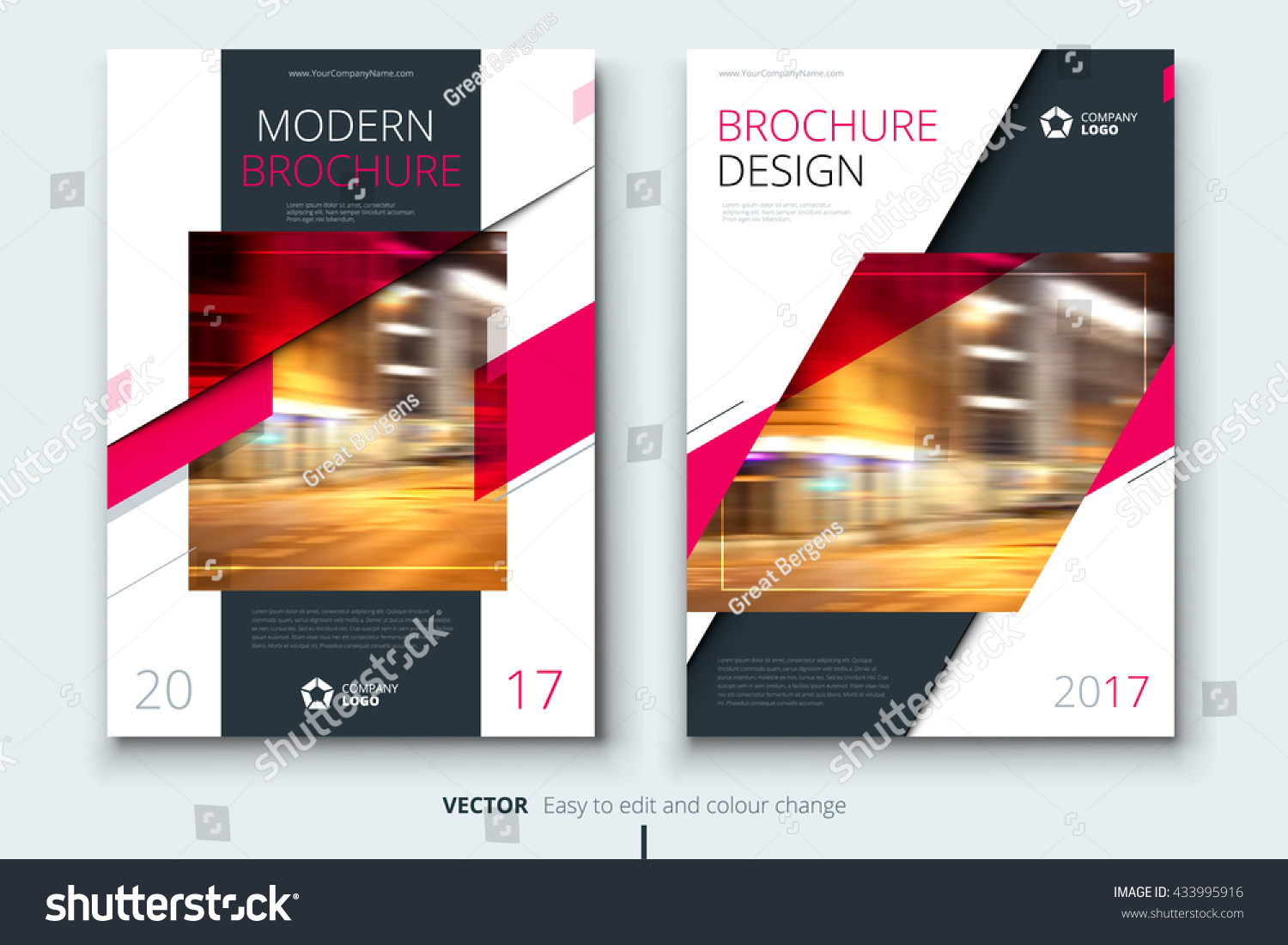 Pink corporative business annual report brochure stock for Modern brochure design templates