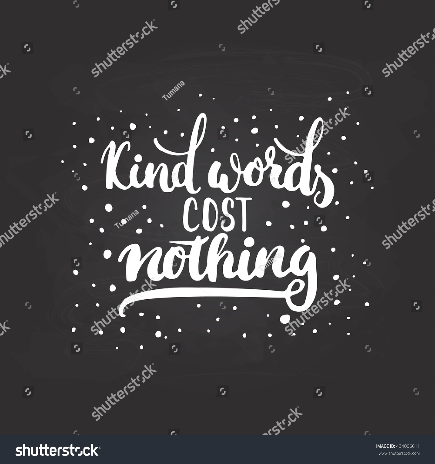 Poster design cost - Kind Words Cost Nothing Hand Drawn Lettering Phrase Isolated On The Chalkboard Background