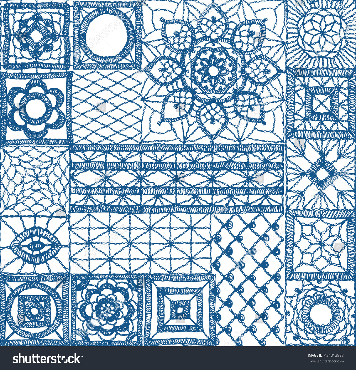 Crochet Lace Elements Square Isolated Crocheted Stock Vector ...
