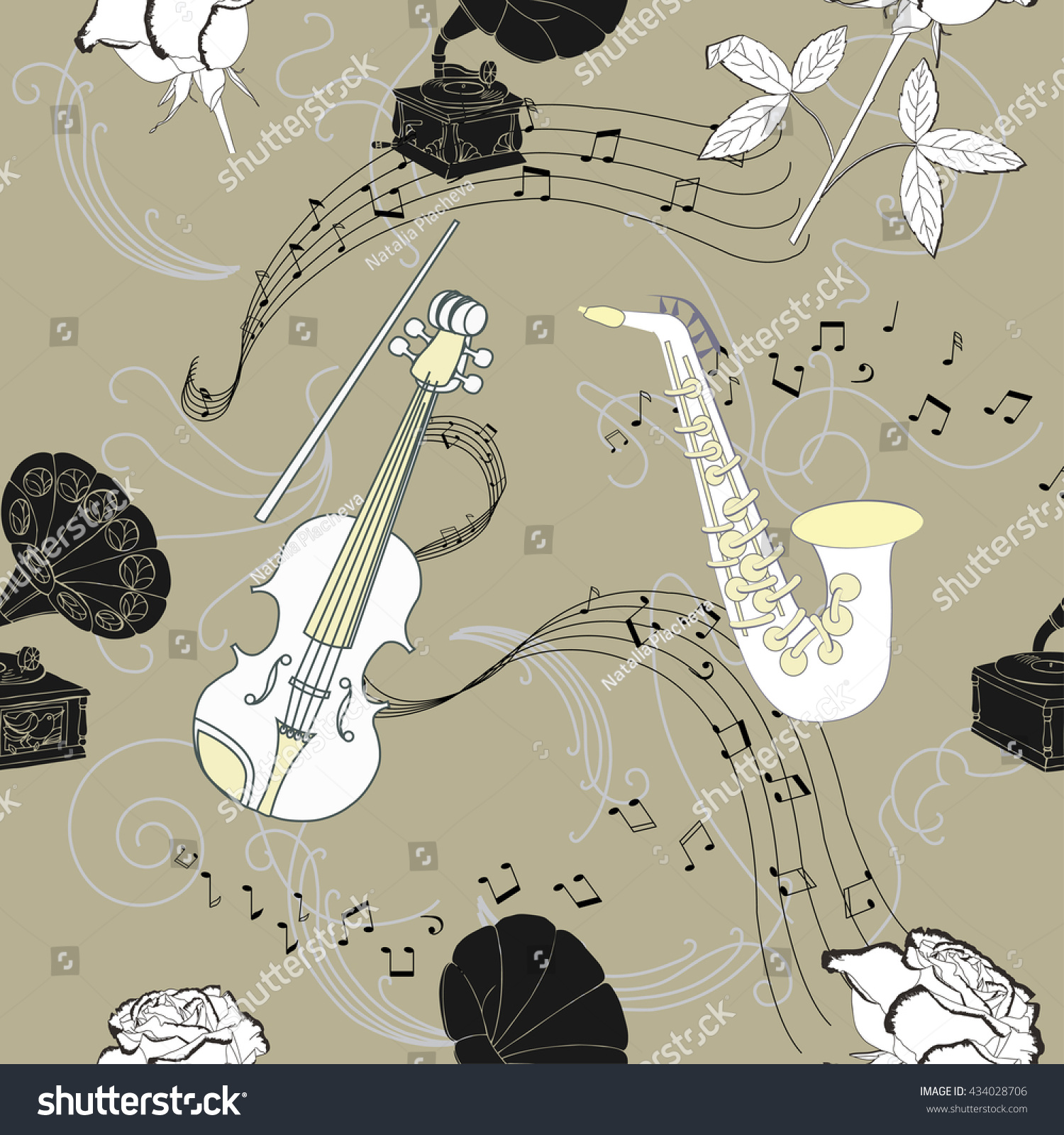 Seamless pattern with music instruments flowers and gramophone hand drawn sketches old record player
