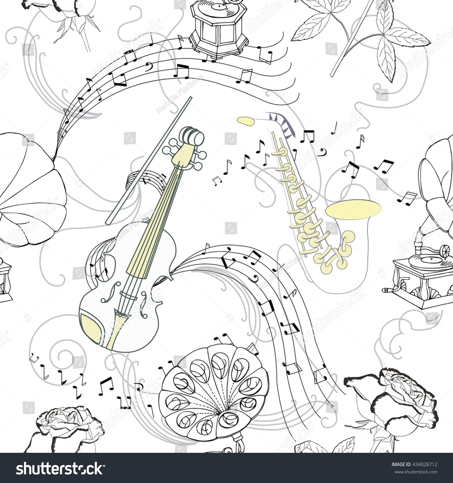 Seamless pattern with music instruments flowers and gramophone hand drawn sketches old record player illustration ez canvas