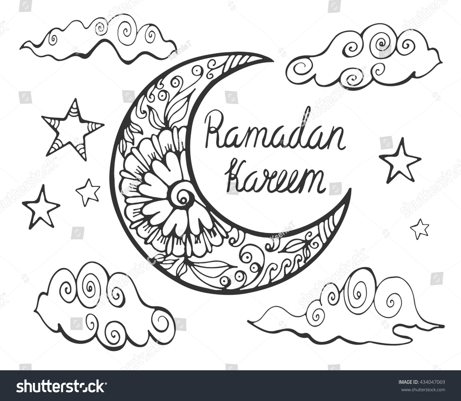Coloring pages ramadan - Ramadan Kareem Theme Hand Drawn Vector Illustration With Crescent Clouds Stars And Lettering