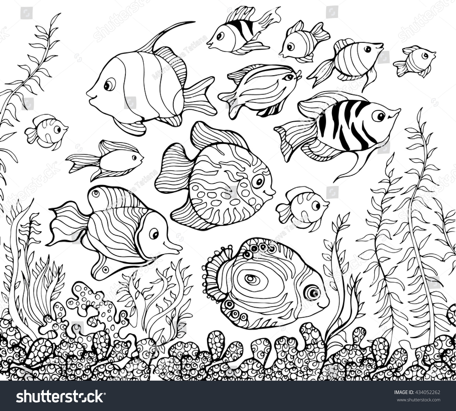 Outline Drawing Underwaterfishcoloring Pages Kids Stock Vektorgrafik