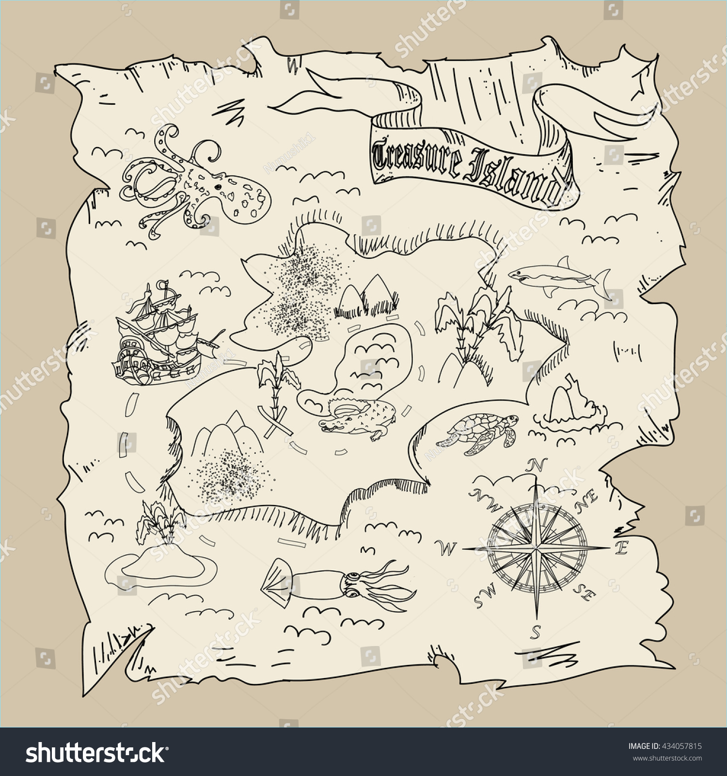 treasure island map kids coloring page stock illustration