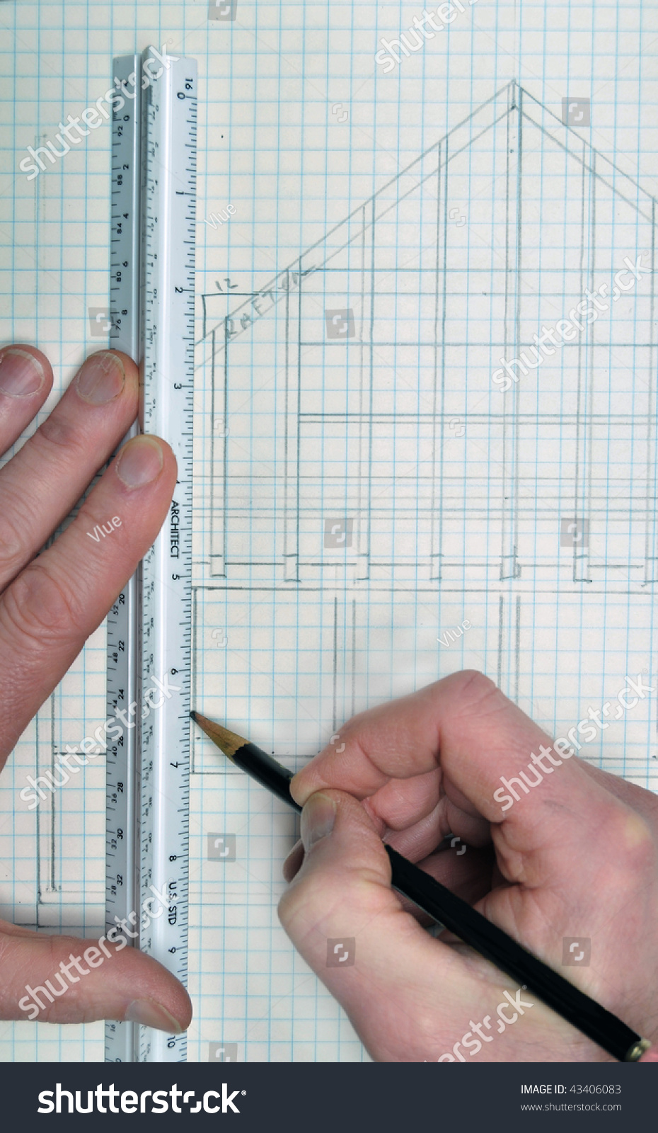 Drawing Lines With A Ruler Ks : House floor plan architect on grid stock photo