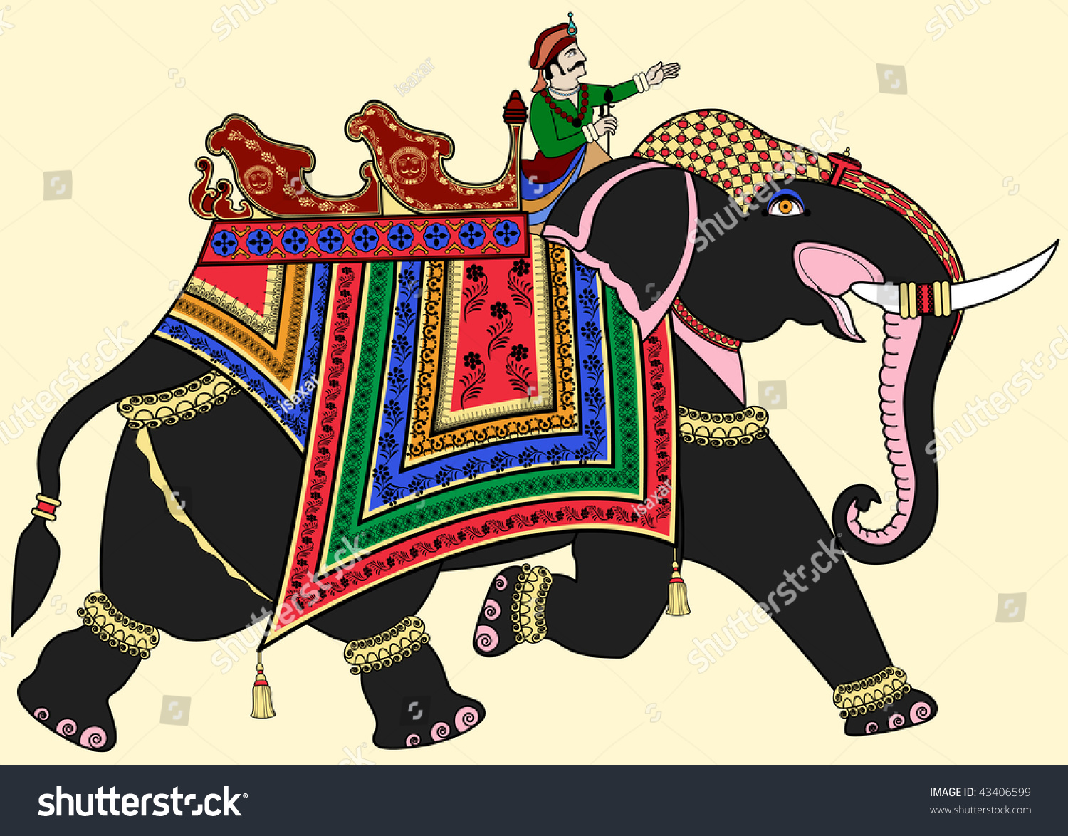 Vector Illustration Decorated Indian Elephant Stock Vector ...