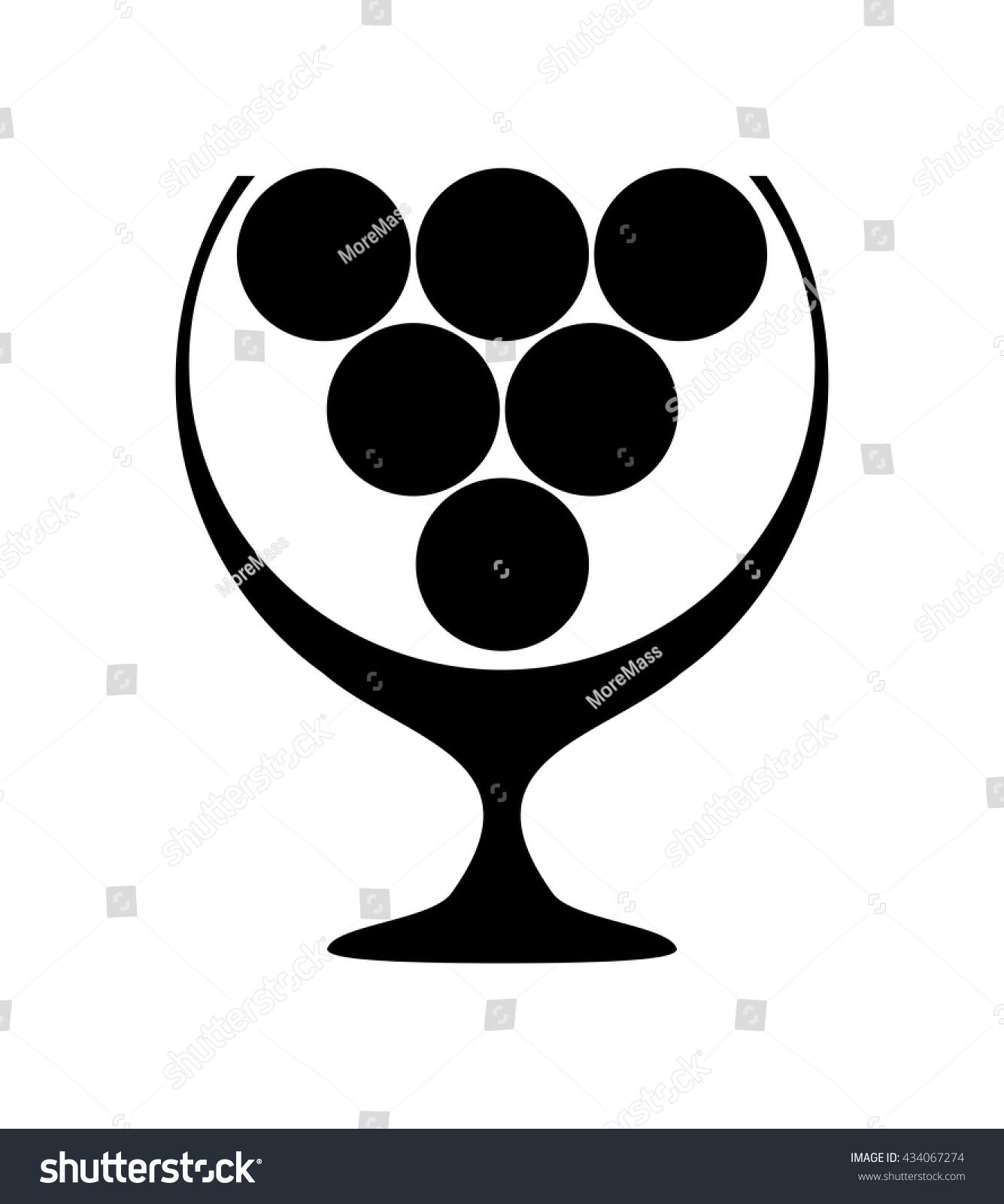 Stylized Glass Wine Bunch Grapes Symbol Stock Vector 434067274