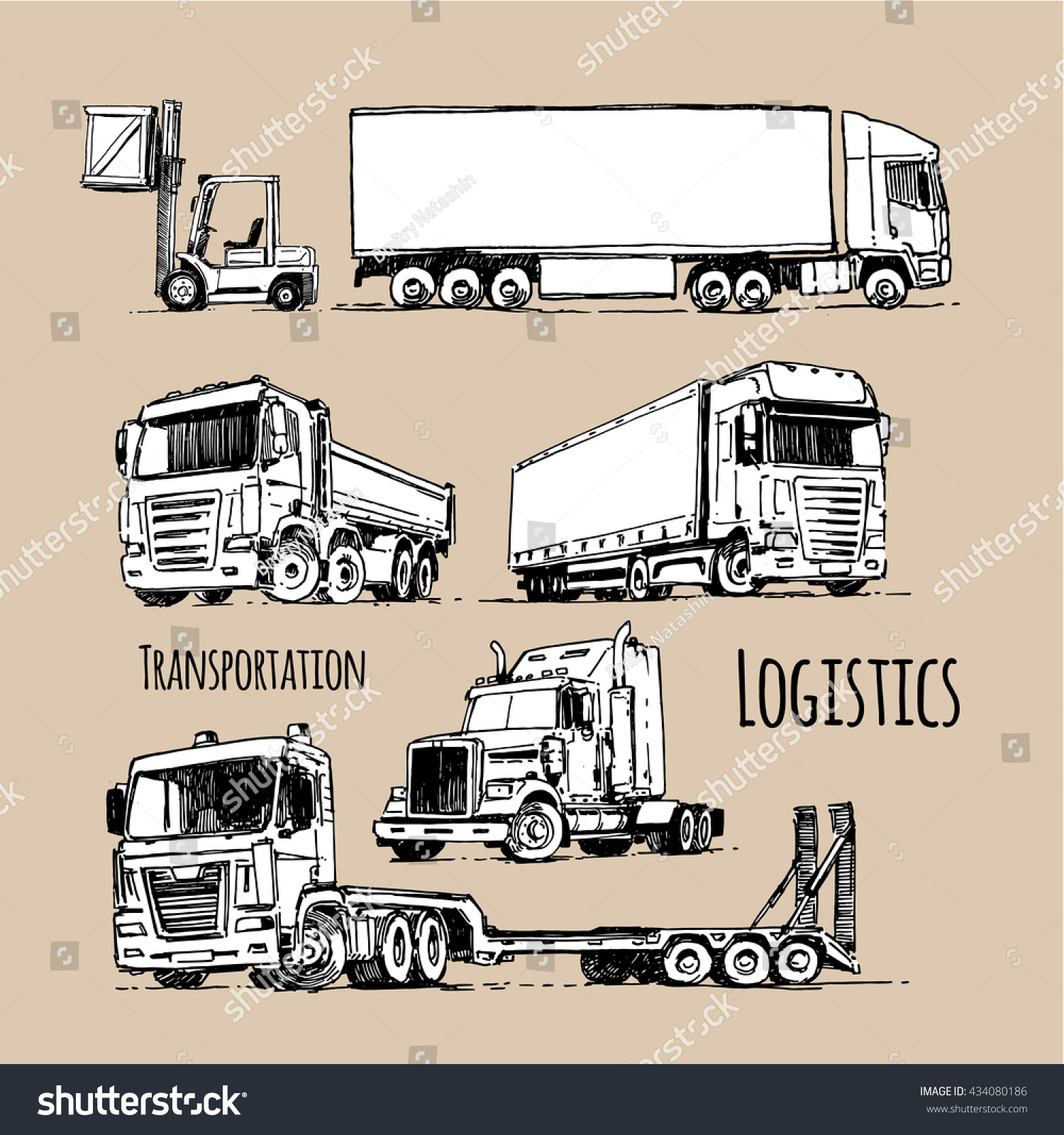 stock vector cargo truck hand drawn illustration sketch logistics and delivery 434080186 cargo truck hand drawn illustration sketch stock vector (royalty