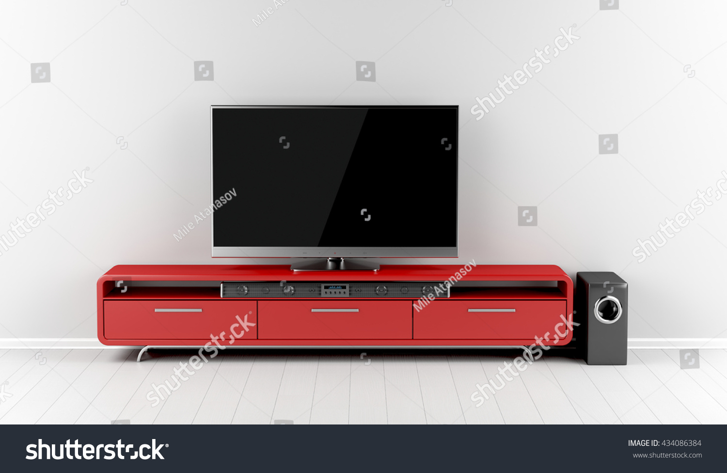 tv with soundbar and subwoofer on tv stand 3d