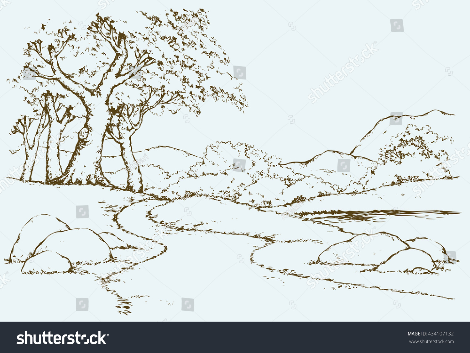 Big mount range cliff with old oakwood grove on hilltop Freehand outline ink hand drawn picture sketchy in art scribble retro style pen on paper Panoramic view with space for text on sky background