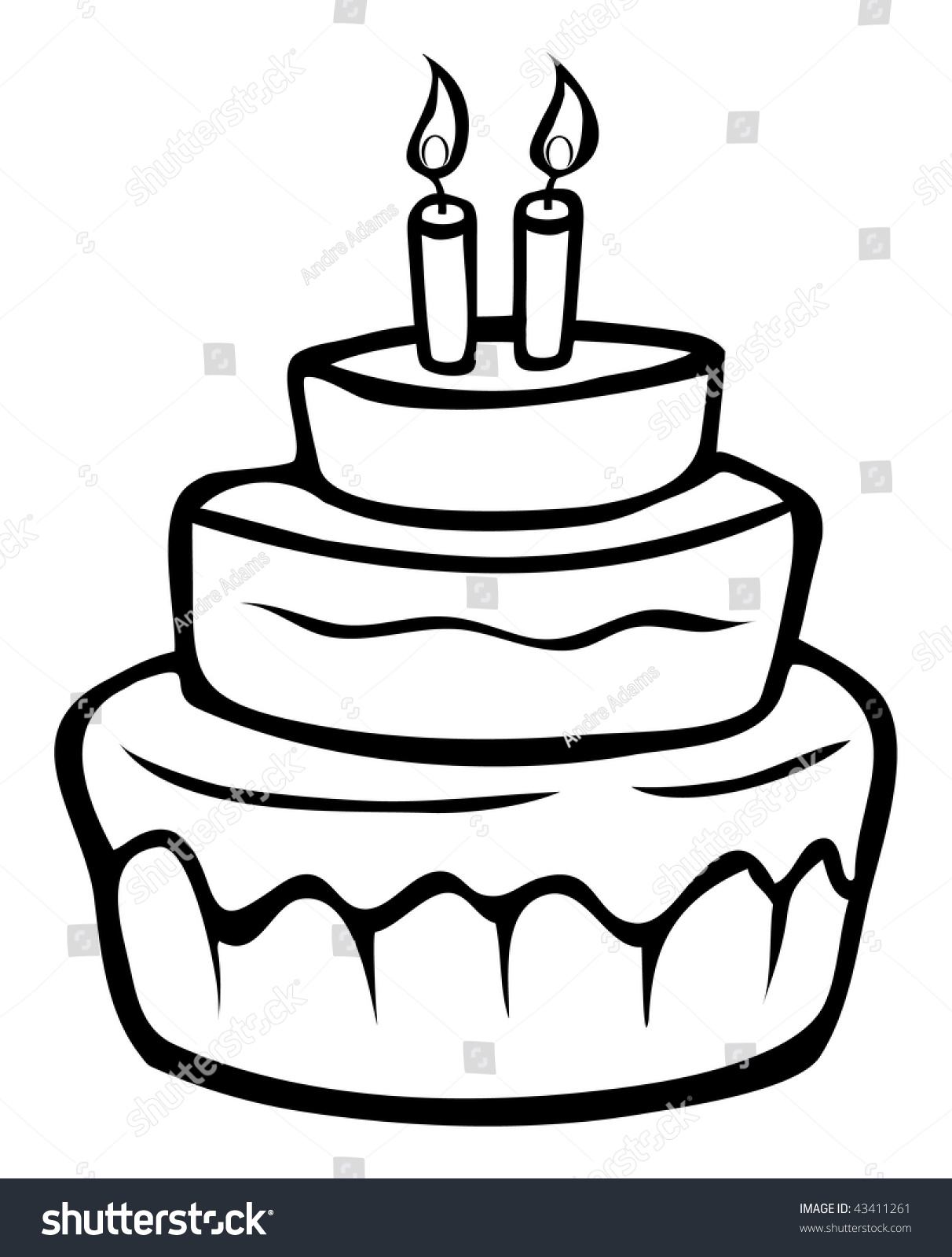 Cartoon Outline Vector Illustration Birthday Cake Stock Illustration