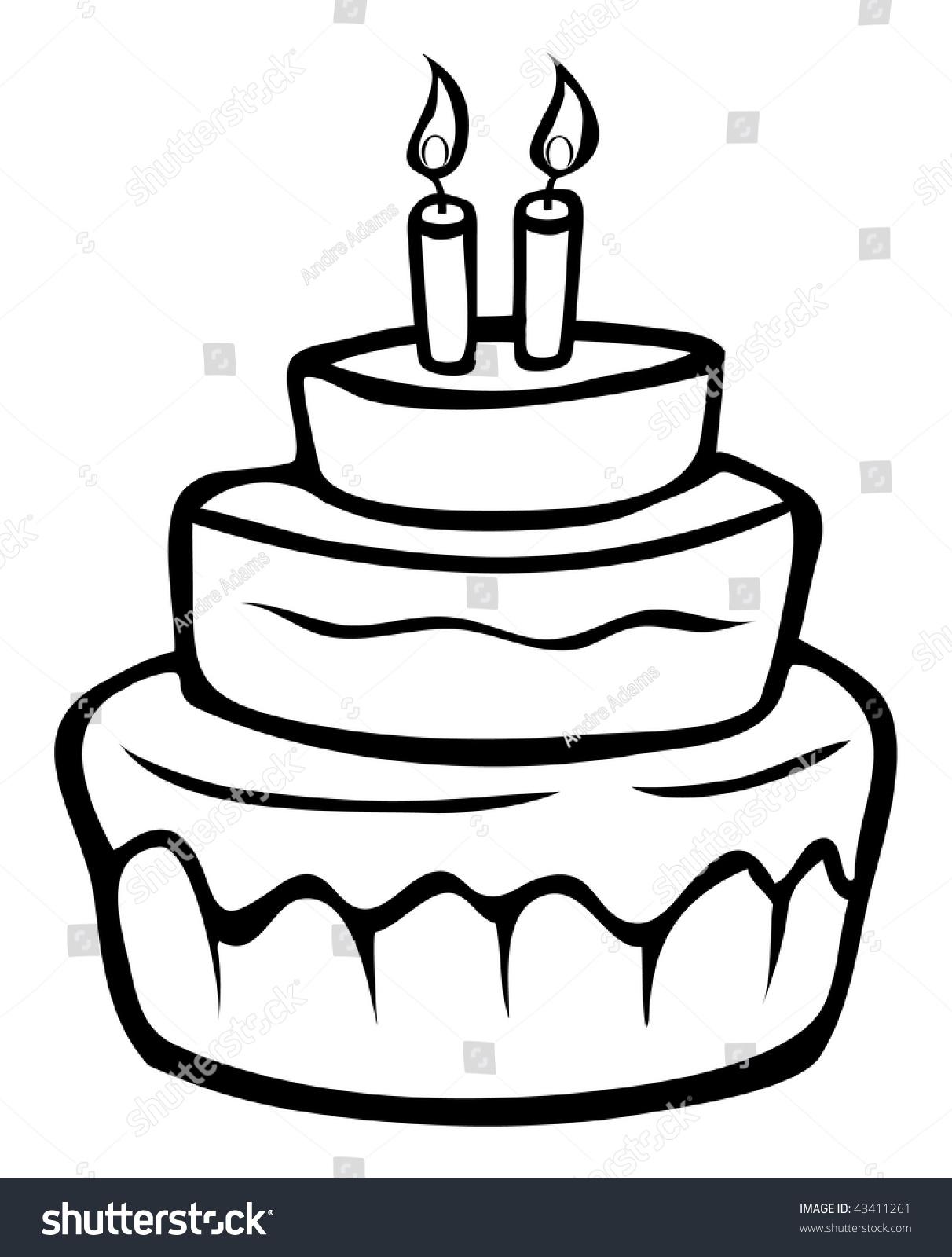 Cartoon Outline Vector Illustration Birthday Cake Stock