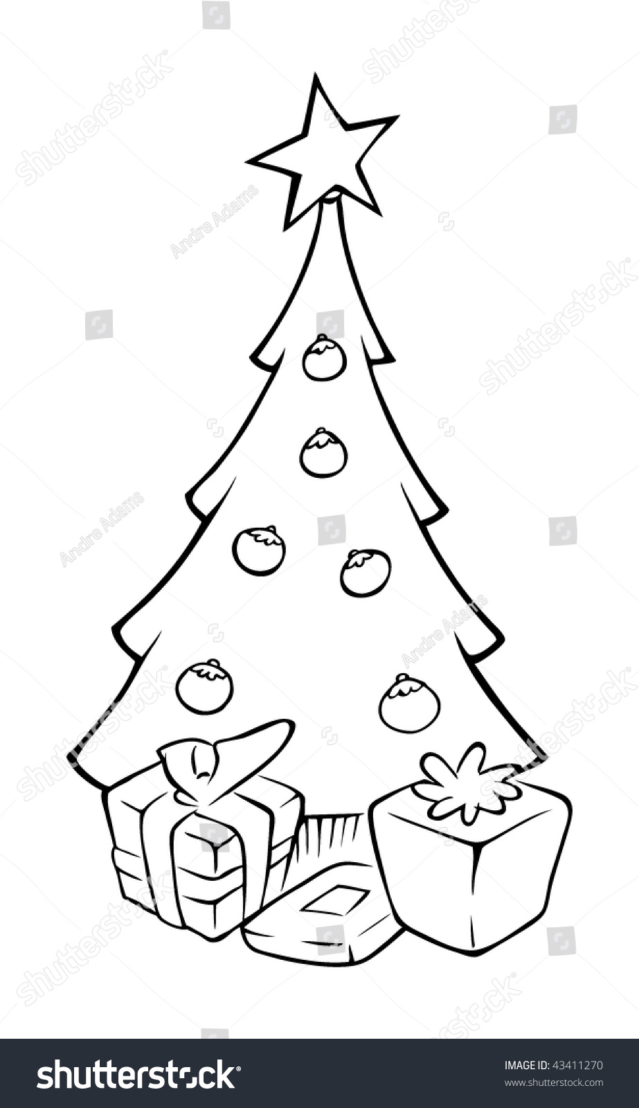 Cartoon Outline Vector Illustration Christmas Tree Stock