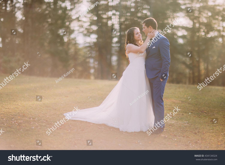 Romantic Wedding Couple Outdoors Bride Going Stock Photo Edit Now 434134324
